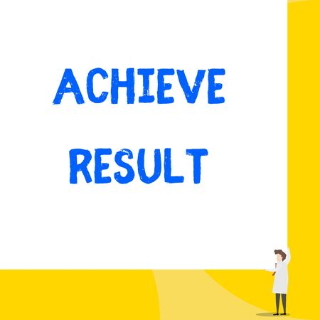 Writing note showing Achieve Result. Business concept for Accomplishment Attain Bring to a successful conclusion Young woman holding two hands right corner big rectangle Imagens