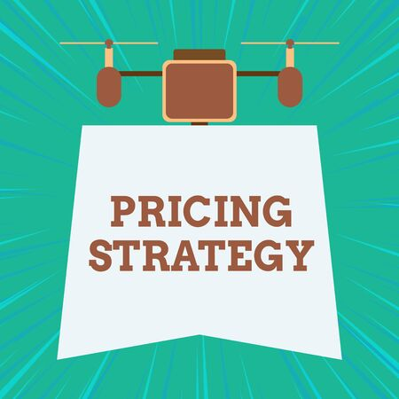 Text sign showing Pricing Strategy. Business photo showcasing set maximize profitability for unit sold or market overall Drone holding downwards banner. Geometrical abstract background design