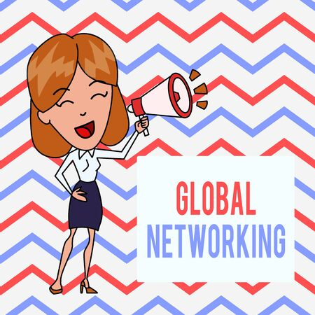 Writing note showing Global Networking. Business concept for Communication network which spans the entire Earth WAN Young Woman Speaking in Blowhorn Colored Backgdrop Text Box