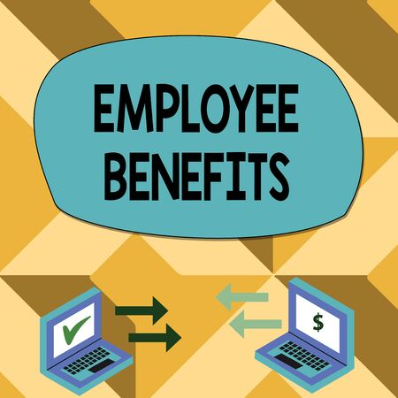 Text sign showing Employee Benefits. Business photo showcasing Indirect and noncash compensation paid to an employee Exchange Arrow Icons Between Two Laptop with Currency Sign and Check Icons