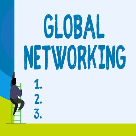 Word writing text Global Networking. Business photo showcasing Communication network which spans the entire Earth WAN Back view young man climbing up staircase ladder lying big blank rectangle
