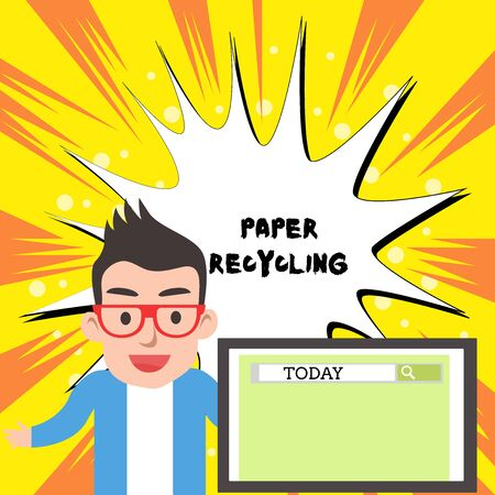 Handwriting text writing Paper Recycling. Conceptual photo Using the waste papers in a new way by recycling them Male Speaker Monitor with Search Tool on Screen Presentation or Report Stock Photo