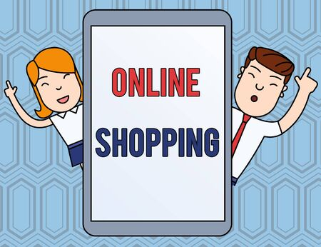 Text sign showing Online Shopping. Business photo text allows consumers to buy their goods over the Internet Male and Female Index Fingers Up Touch Screen Tablet Smartphone Device