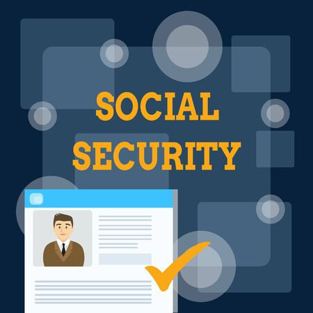 Writing note showing Social Security. Business concept for assistance from state showing with inadequate or no income Curriculum Vitae Resume of Candidate Marked by Color Mark