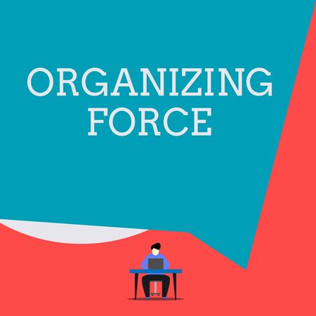 Writing note showing Organizing Force. Business concept for being United powerful group to do certain actions Man sitting chair desk working laptop geometric background Stock Photo