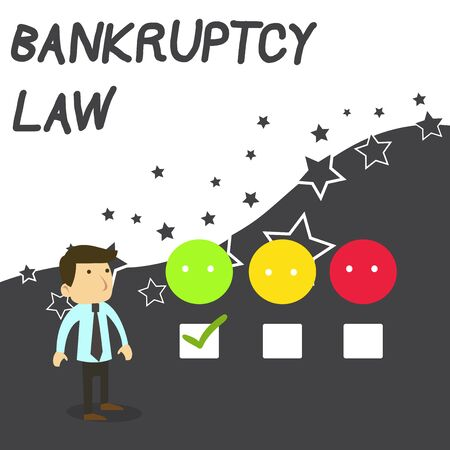 Text sign showing Bankruptcy Law. Business photo text Designed to help creditor in getting the asset of the debtor White Male Questionnaire Survey Choice Checklist Satisfaction Green Tick