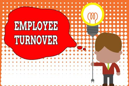 Handwriting text writing Employee Turnover. Conceptual photo Number or percentage of workers who leave an organization Standing man tie holding plug socket light bulb to connect idea. Startup Фото со стока