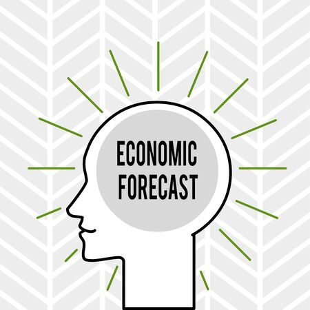 Handwriting text writing Economic Forecast. Conceptual photo Process of making predictions about the economy condition Outline Silhouette Human Head Surrounded by Light Rays Blank Text Space Reklamní fotografie