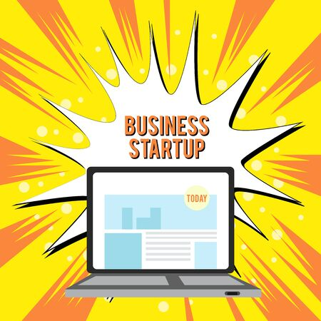 Text sign showing Business Startup. Business photo text Putting up new commerce venture Fresh Undertaking Open Modern Laptop Switched On with Website Homepage on Screen Web Search