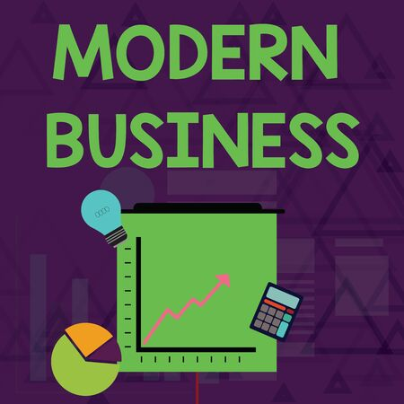 Writing note showing Modern Business. Business concept for Introduction to the philosophy of large corporate enterprise Investment Icons of Pie and Line Chart with Arrow Going Up
