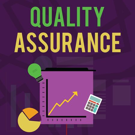 Text sign showing Quality Assurance. Business photo text Ensures a certain level of quality Established requirement Investment Icons of Pie and Line Chart with Arrow Going Up, Bulb, Calculator