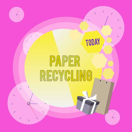 Conceptual hand writing showing Paper Recycling. Concept meaning Using the waste papers in a new way by recycling them Greeting Card Poster Gift Package Box Decorated by Bowknot Stock Photo