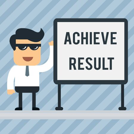 Writing note showing Achieve Result. Business concept for Accomplishment Attain Bring to a successful conclusion Office Worker Sunglass Blank Whiteboard Meeting Presentation