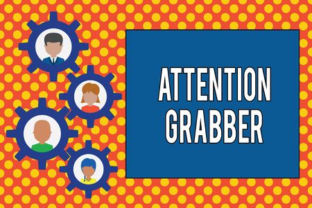 Text sign showing Attention Grabber. Business photo showcasing Deanalysisding notice mainly by being prominent or outlandish Gearshaped picture frame family ornament mother father daughter son photo