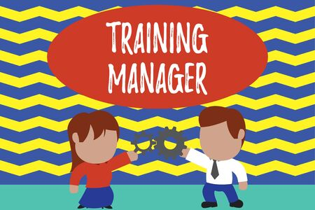 Conceptual hand writing showing Training Manager. Concept meaning giving needed skills for high positions improvement Young couple sharing gear Man tie woman skirt relation