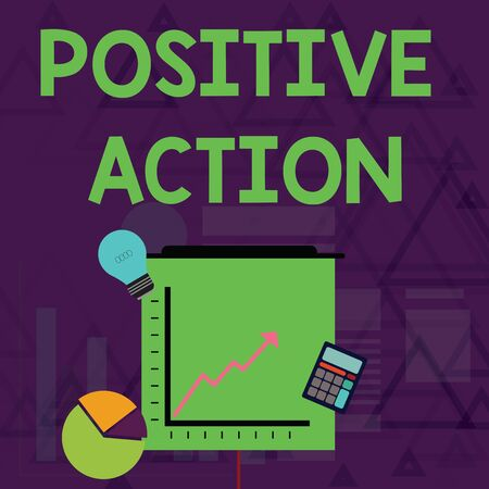 Writing note showing Positive Action. Business concept for doing good attitude against certain situation Fine reaction Investment Icons of Pie and Line Chart with Arrow Going Up