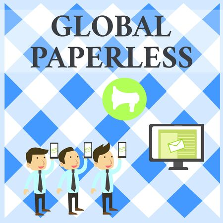 Text sign showing Global Paperless. Business photo showcasing going for technology methods like email instead of paper SMS Email Marketing Media Audience Attraction Personal Computer Loudspeaker