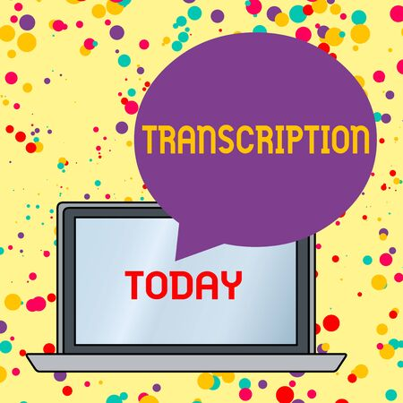 Text sign showing Transcription. Business photo text Written or printed version of something Hard copy of audio Round Shape Empty Speech Bubble Floating Over Open Laptop Colored Backdrop