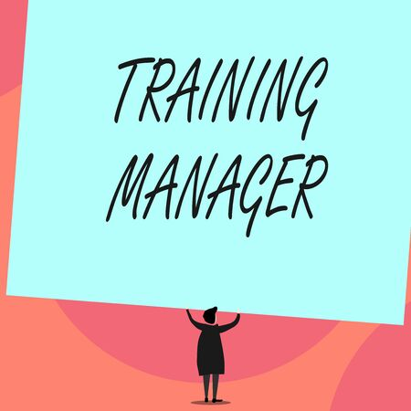 Word writing text Training Manager. Business photo showcasing giving needed skills for high positions improvement Back view standing short hair woman dress hands up holding blank rectangle