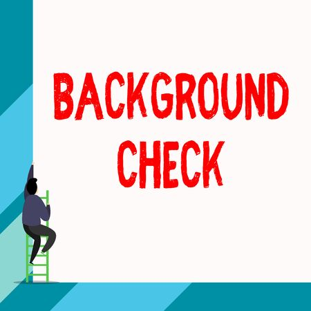 Writing note showing Background Check. Business concept for way to discover issues that could affect your business Back view young long hair woman holding blank square announcement