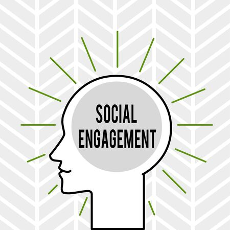 Handwriting text writing Social Engagement. Conceptual photo Degree of engagement in an online community or society Outline Silhouette Human Head Surrounded by Light Rays Blank Text Space Stock Photo