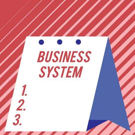 Text sign showing Business System. Business photo showcasing A method of analyzing the information of organizations Modern fresh and simple design of calendar using hard folded paper material