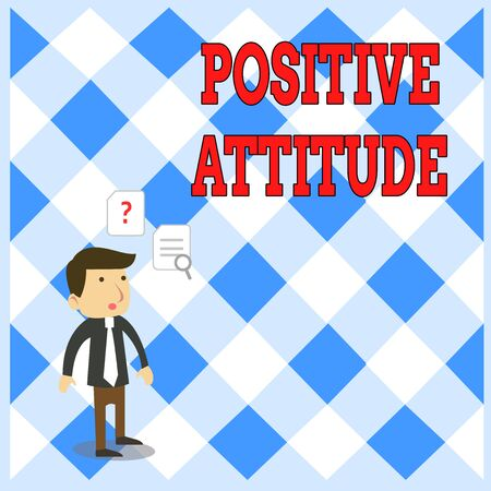 Handwriting text writing Positive Attitude. Conceptual photo Being optimistic in Life Looking for good things Young Male Businessman Office Worker Standing Searching Problem Solution Reklamní fotografie