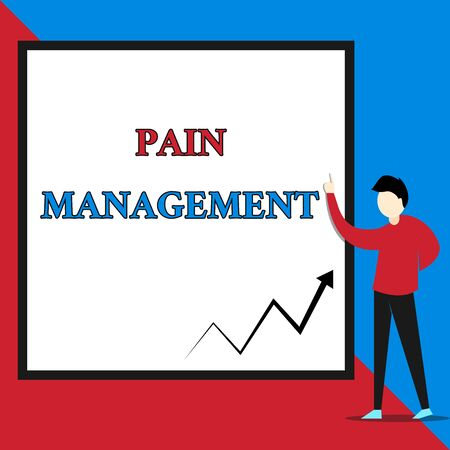 Text sign showing Pain Management. Business photo text a branch of medicine employing an interdisciplinary approach View young man standing pointing up blank rectangle Geometric background