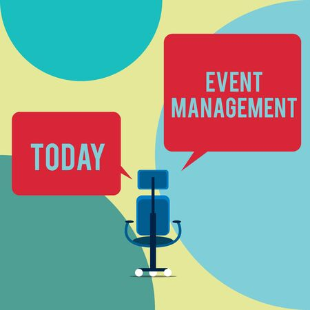 Word writing text Event Management. Business photo showcasing creation and development of large scale actions festivals Executive chair sharing two blank square speech bubbles right left side Imagens