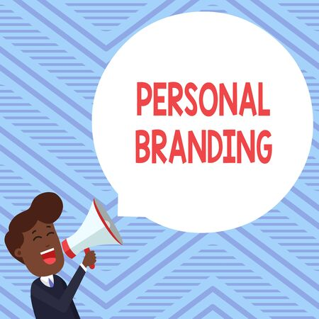 Word writing text Personal Branding. Business photo showcasing Practice of People Marketing themselves Image as Brands Young Man Shouting into Megaphone Floating Round Shape Empty Speech Bubble