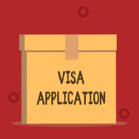 Word writing text Visa Application. Business photo showcasing Form to ask permission travel or live in another country Close up front view open brown cardboard sealed box lid. Blank background