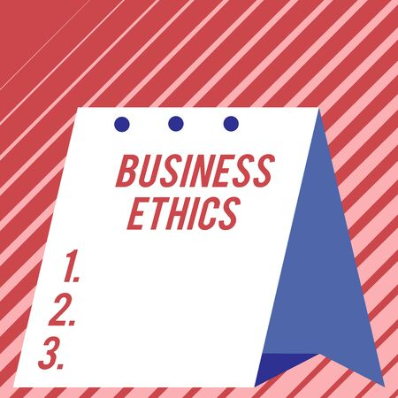 Text sign showing Business Ethics. Business photo showcasing Moral principles that guide the way a business behaves Modern fresh and simple design of calendar using hard folded paper material