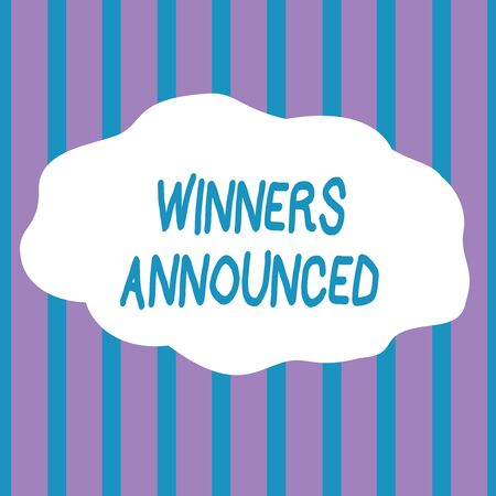 Text sign showing Winners Announced. Business photo showcasing Announcing who won the contest or any competition Seamless Vertical Stripes Pattern in Blue and Violet Alternate Color Strip