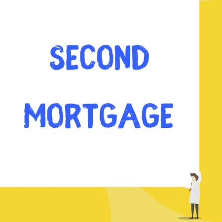 Writing note showing Second Mortgage. Business concept for lien on property which is subordinate to more senior one Young woman holding two hands right corner big rectangle Imagens - 124888438