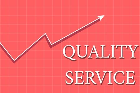 Conceptual hand writing showing Quality Service. Concept meaning how well delivered service conforms to clientexpectations Crook White Progress Arrow with Shadow Quadrille Background Stock Photo