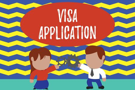 Conceptual hand writing showing Visa Application. Concept meaning Form to ask permission travel or live in another country Young couple sharing gear Man tie woman skirt relation