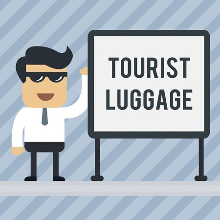 Writing note showing Tourist Luggage. Business concept for big bag that contains everything one needs for traveling Office Worker Sunglass Blank Whiteboard Meeting Presentation