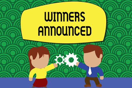 Word writing text Winners Announced. Business photo showcasing Announcing who won the contest or any competition Standing young couple sharing gear. Man tie woman skirt commerce relation Stock Photo - 124888474