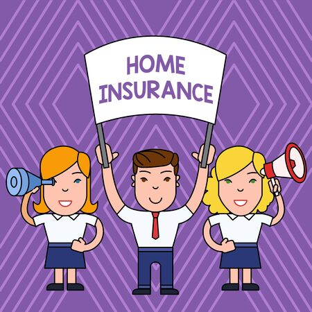 Handwriting text Home Insurance. Conceptual photo Covers looses and damages and on accidents in the house People with Blank Banner, Megaphone and Spy Glass Peaceful Demonstration Imagens
