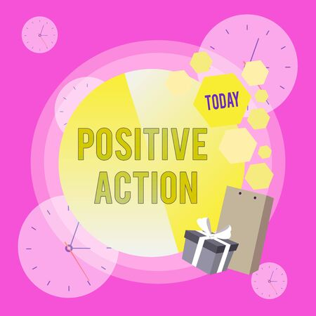 Conceptual hand writing showing Positive Action. Concept meaning doing good attitude against certain situation Fine reaction Greeting Card Poster Gift Package Box Decorated by Bowknot
