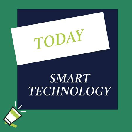 Writing note showing Smart Technology. Business concept for gadgets or device that has a built in computer or chip Speaking trumpet on left bottom and paper to rectangle background