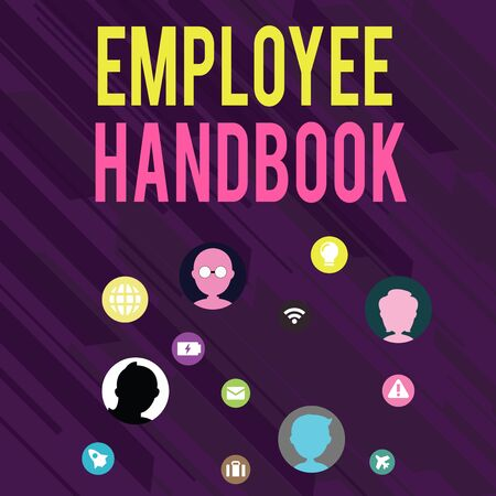Conceptual hand writing showing Employee Handbook. Concept meaning Document that contains an operating procedures of company Networking Technical Icons Chat Heads on Screen for Link Up Stock Photo