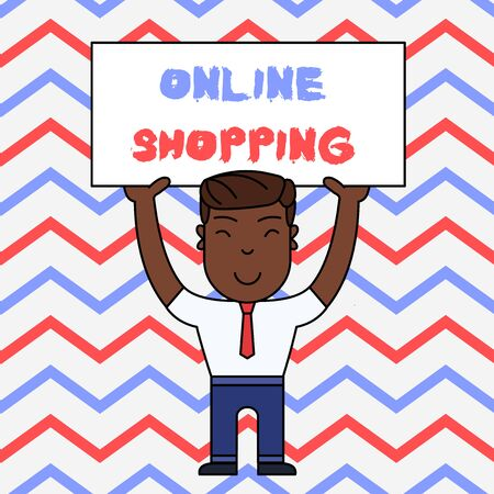 Text sign showing Online Shopping. Business photo text allows consumers to buy their goods over the Internet Smiling Man Standing Holding Big Empty Placard Overhead with Both Hands 스톡 콘텐츠