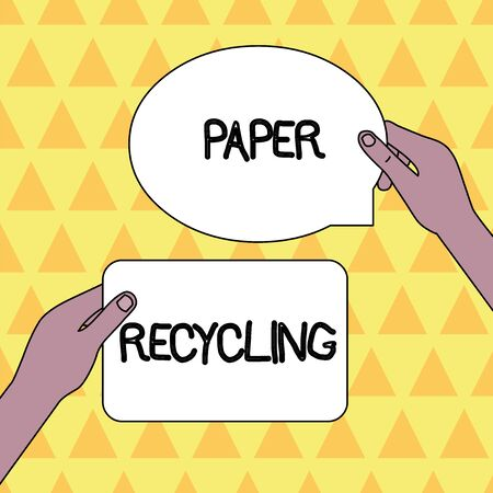 Handwriting text Paper Recycling. Conceptual photo Using the waste papers in a new way by recycling them Two Blank Figured Tablets Signs Held in Hands One Above Other Text Space Stock Photo