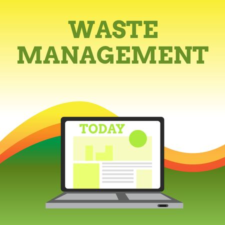 Text sign showing Waste Management. Business photo showcasing actions required analysisage rubbish inception to final disposal Open Modern Laptop Switched On with Website Homepage on Screen Web Search