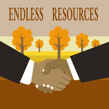 Writing note showing Endless Resources. Business concept for Unlimited supply of stocks or financial assistance Hand Shake Multiracial Male Business Partners Formal Suits