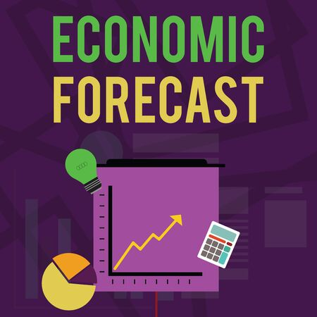 Text sign showing Economic Forecast. Business photo text Process of making predictions about the economy condition Investment Icons of Pie and Line Chart with Arrow Going Up, Bulb, Calculator Reklamní fotografie - 124892956