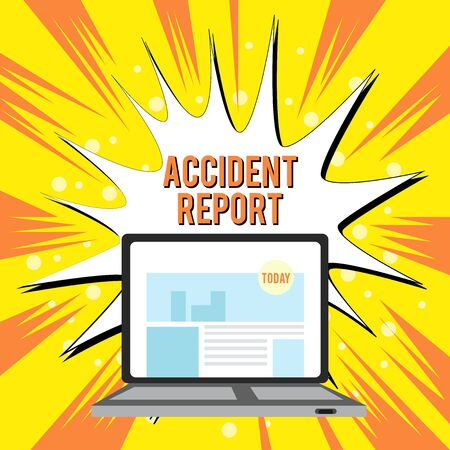 Text sign showing Accident Report. Business photo text A form that is filled out record details of an unusual event Open Modern Laptop Switched On with Website Homepage on Screen Web Search