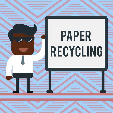 Word writing text Paper Recycling. Business photo showcasing Using the waste papers in a new way by recycling them Office Worker Sunglass Blank Whiteboard Meeting Presentation