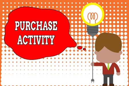 Handwriting text writing Purchase Activity. Conceptual photo Acquiring goods to achieve the goals of an organization Standing man tie holding plug socket light bulb to connect idea. Startup